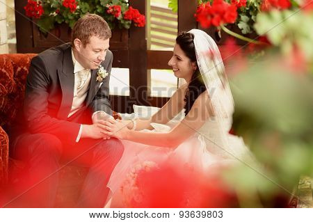 Bride And Groom In A Beautifully Decorated Room