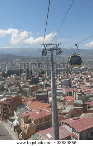 Cityscape Of La Paz, Bolivia With Illimani Mountain Rising In The Background