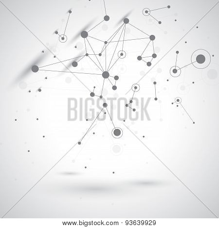 Tecnology gray background molecule and communication. Vector illustration