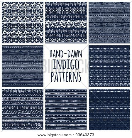 Set of eight indigo blue and white seamless hand drawn geomtric textures