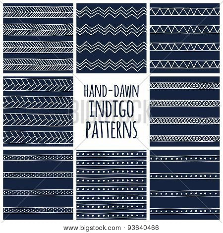 Set of eight indigo blue and white seamless hand drawn geomtric textures
