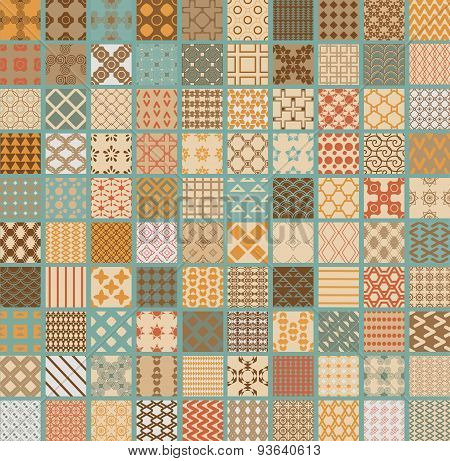100 Retro Set Of Different Vector Geometric Seamless Patterns