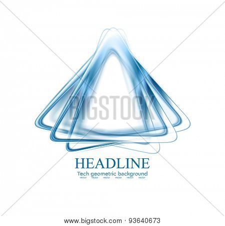 Abstract blue triangles shapes corporate logo. Vector design background