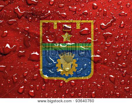 flag of Volgograd with rain drops