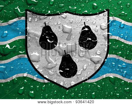flag of Worcestershire with rain drops