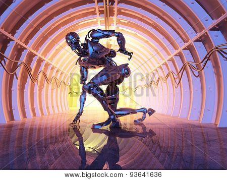 Robot  on the tunnel.