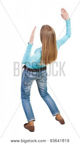 Balancing young woman.  or dodge falling woman. Rear view people collection.  backside view of person.  Isolated over white background. Blonde falls on his back.
