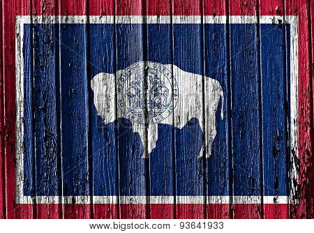 State Of Wyoming Flag Painted On Wooden Frame