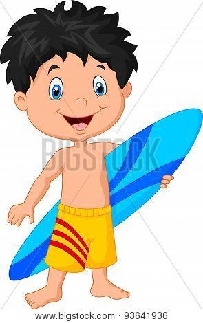 Cartoon little kid holding surfboard