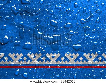 flag of Yamalo Nenets Autonomous Okrug with rain drops