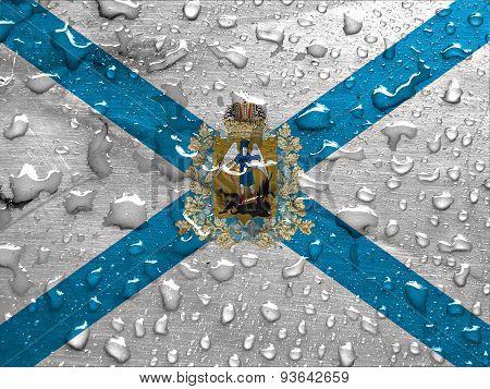 flag of Arkhangelsk Oblast with rain drops