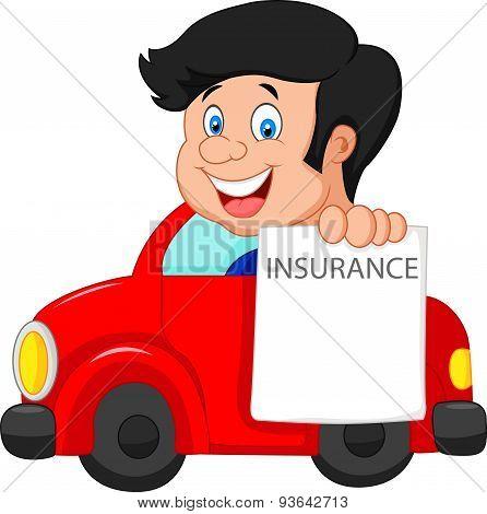 Cartoon little boy notify to join insurance