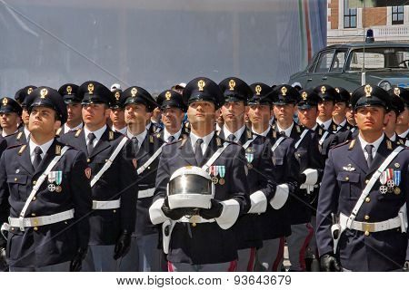 Departments Of The State Police In Italian Parade.
