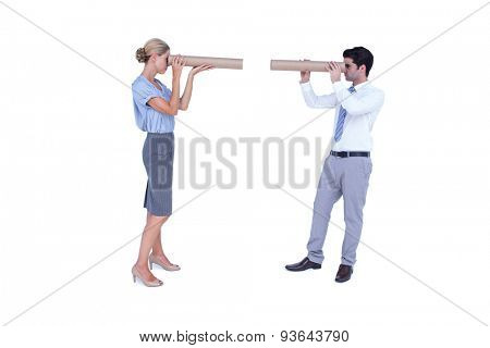Business people looking at each other on white background