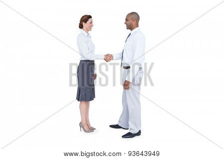 Business people shaking their hands on white background