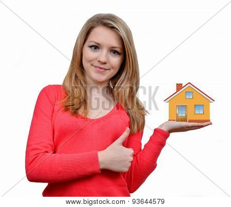 girls holding in hand house on white background