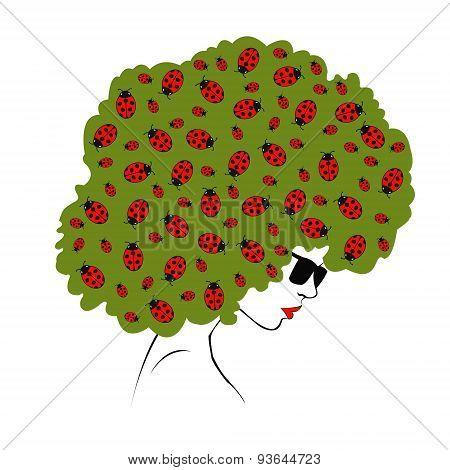 abstract  ladybugs hair - Illustration