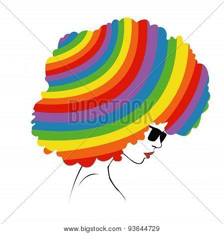 abstract  rainbow hair - Illustration