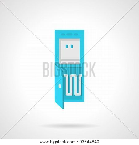 Blue cooler for water flat vector icon