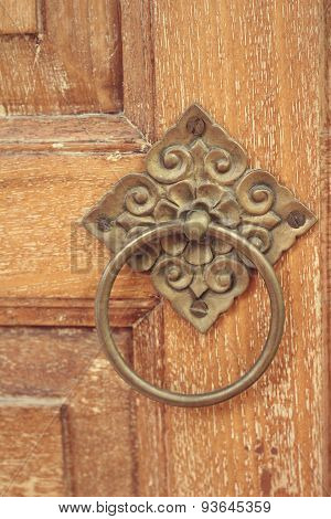 Handle Vintage Wooden Door From An Old House.