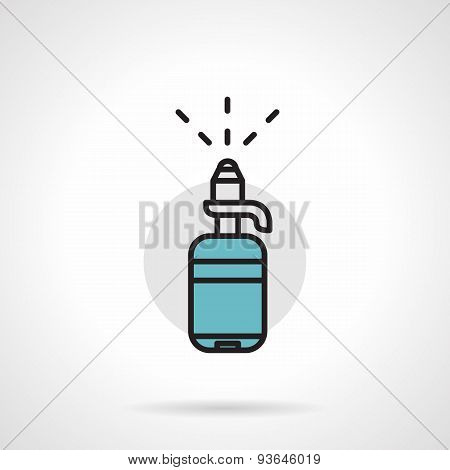 Bottle with pump flat line vector icon
