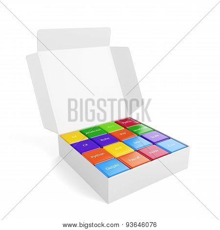 Programming Concept. Different Machine Code Languages Colorful Boxes