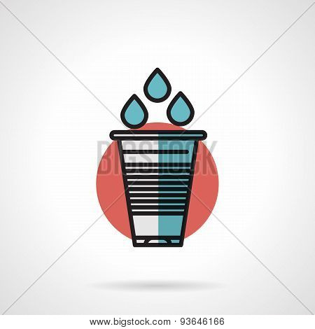 Water plastic glass flat line vector icon