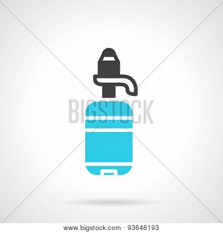 Water bottle black and blue flat vector icon
