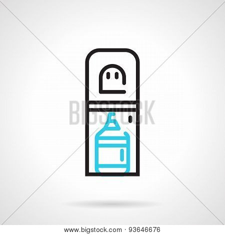 Water cooler black and blue line vector icon