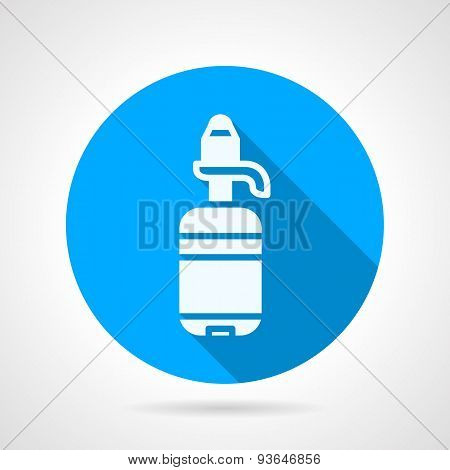 Bottle with pump blue round vector icon