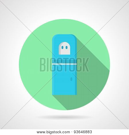 Blue water cooler green round vector icon
