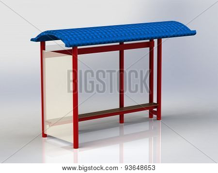 Bus Stop With Billboards Red With Blue Roof