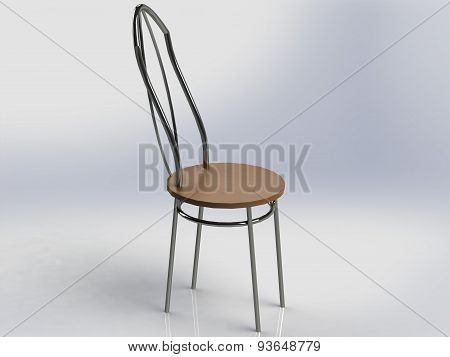 Chair With Iron Nickel-plated Legs And Back Wood Seat