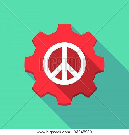 Long Shadow Gear Icon With A Peace Sign