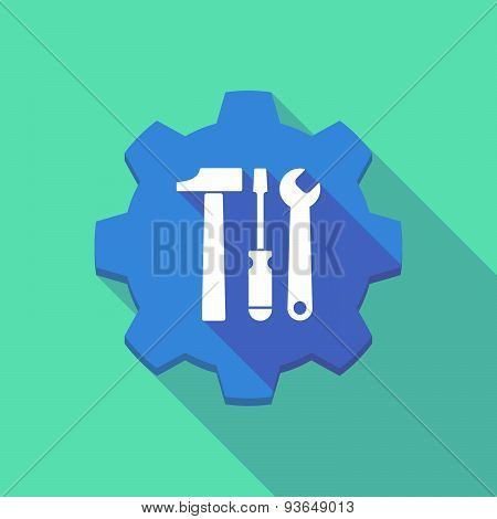 Long Shadow Gear Icon With A Tool Set
