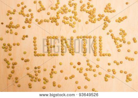 The Seeds Of Green Lentils Closeup