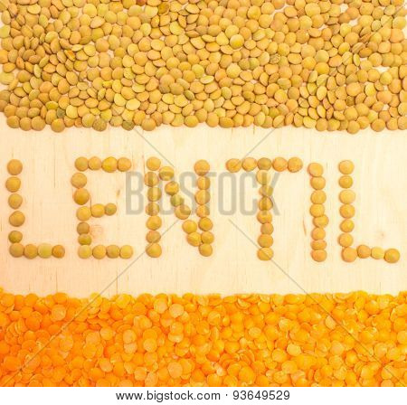 The Seeds Of Green And Red Lentils Closeup