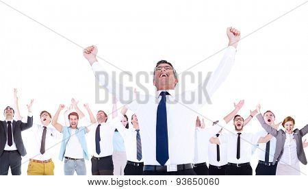 Composite image of excited businessman with glasses cheering with coworkers