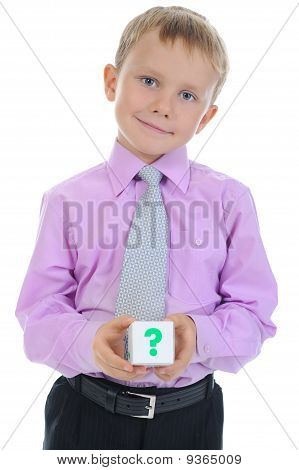 Boy Holds A Cube