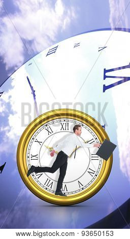 Businessman walking with his briefcase against digitally generated roman numeral clock