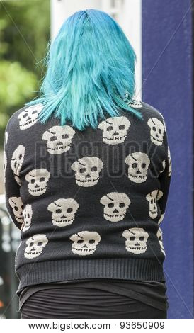 Human skulls on a woman jumper