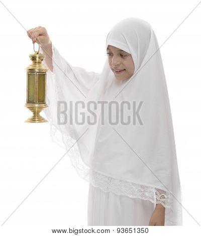 Happy Muslim Girl Celebrating With Festive Ramadan Lantern