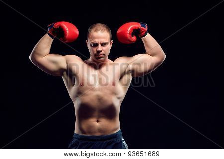 Muscular man - young caucasian boxer