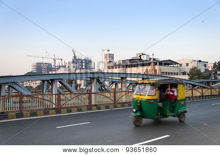 Ahmedabad, India - December 27, 2014: Rickshaw On Ellis Bridge In Ahmedabad