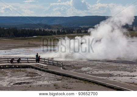 Tourists At Clepsydra Geyser