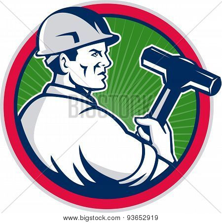 Demolition Worker Sledgehammer Circle Retro