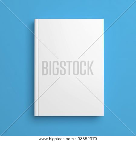 White Blank Book Cover Isolated On Blue