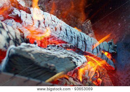 Burning Wood In Brazier