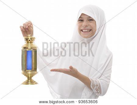 Happy Muslim Girl Celebrating Ramadan Holding Traditional Festive Lantern