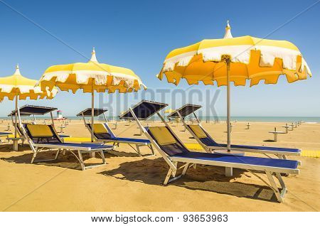 Umbrellas And Sunbeds - Rimini Beach - Italian Summer